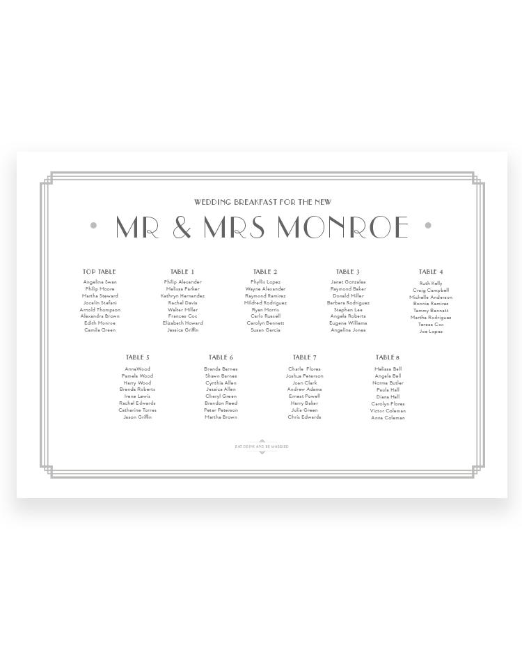 Art Deco Wedding Table Plan - Deco Seating Plan - Foil Invite Company Luxury Wedding Stationery