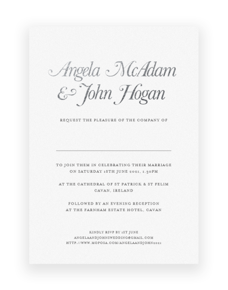 Simple but Elegant Wedding Invitations - Elegance by The Foil Invite Company