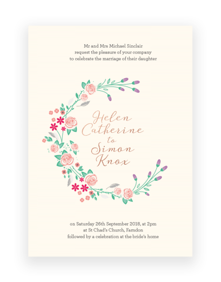 Floral Wedding Invitations - Farndon - Luxury Wedding Stationery by The Foil Invite Company