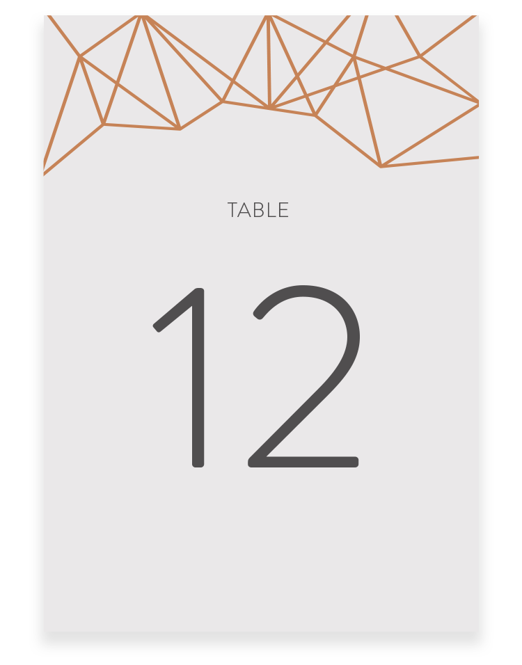 Geometric Wedding Table Numbers - Luxury Wedding Stationery by The Foil Invite Company