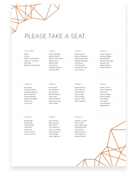 Geometric Wedding Table Plan - Trendy Seating Plan - Foil Invite Company Luxury Wedding Stationery