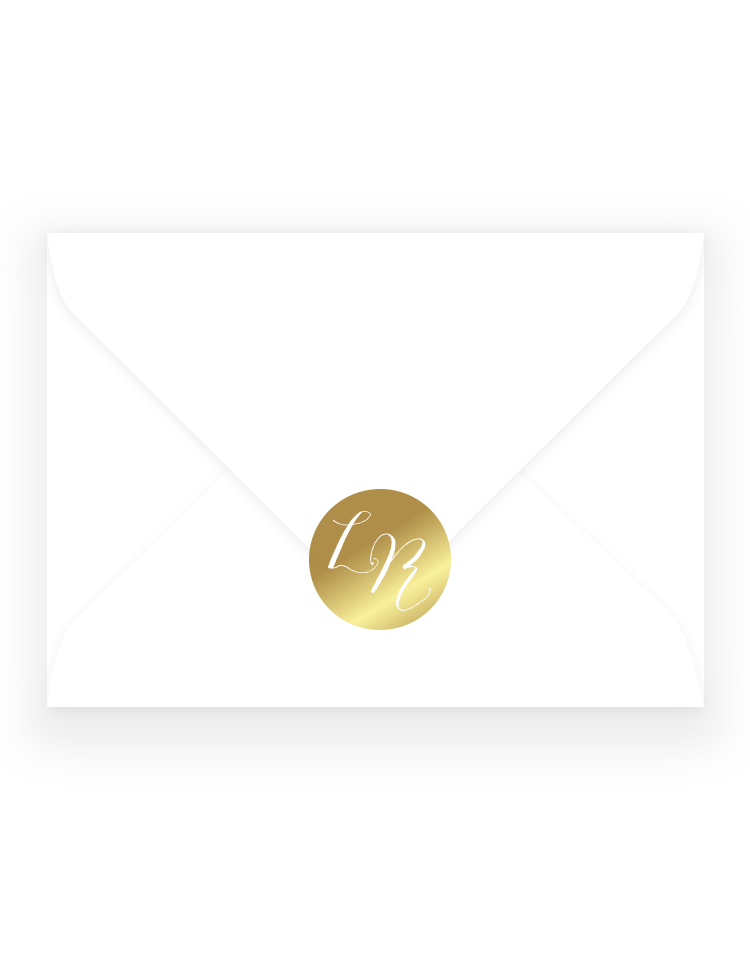 Personalised Wedding Stickers - Louise Monogram Wedding Envelope Sticker - Luxury Wedding Stationery by The Foil Invite Company