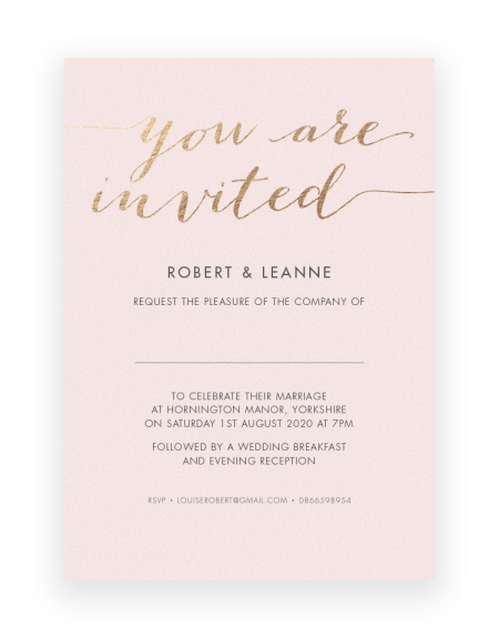 Luxury wedding invitations hand printed in UK - Foil Invite Company