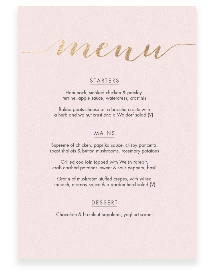 Louise Wedding Menu Cards - Luxury Wedding Stationery by The Foil Invite Company
