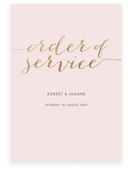 Louise Wedding Order of Service - Luxury Wedding Stationery by The Foil Invite Company