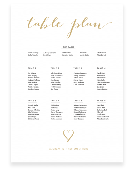 Louise Wedding Table Plan - Foil Invite Company Luxury Wedding Stationery