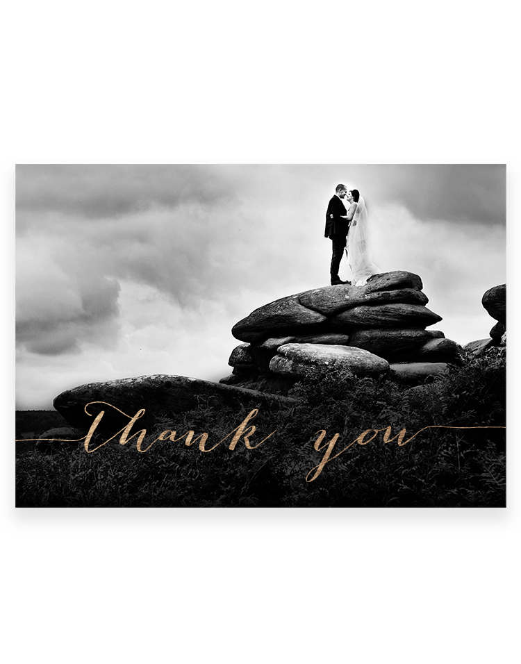 Personalised Photo Wedding Thank You Cards - Hot Foil Printed by Hand - Foil Invite Company Luxury Stationery UK