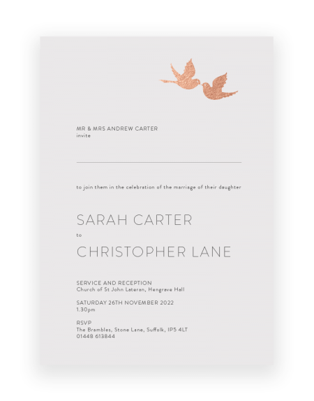 Love Birds Wedding Invitation - Luxury Wedding Stationery by The Foil Invite Company