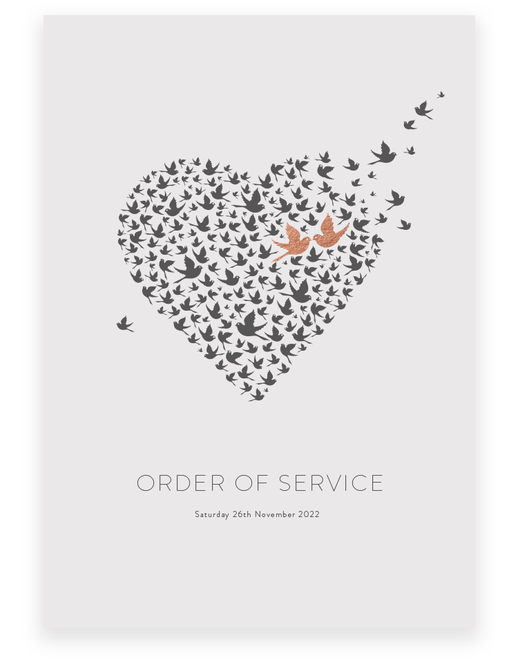 Love Birds Wedding Order of Service - Luxury Wedding Stationery by The Foil Invite Company