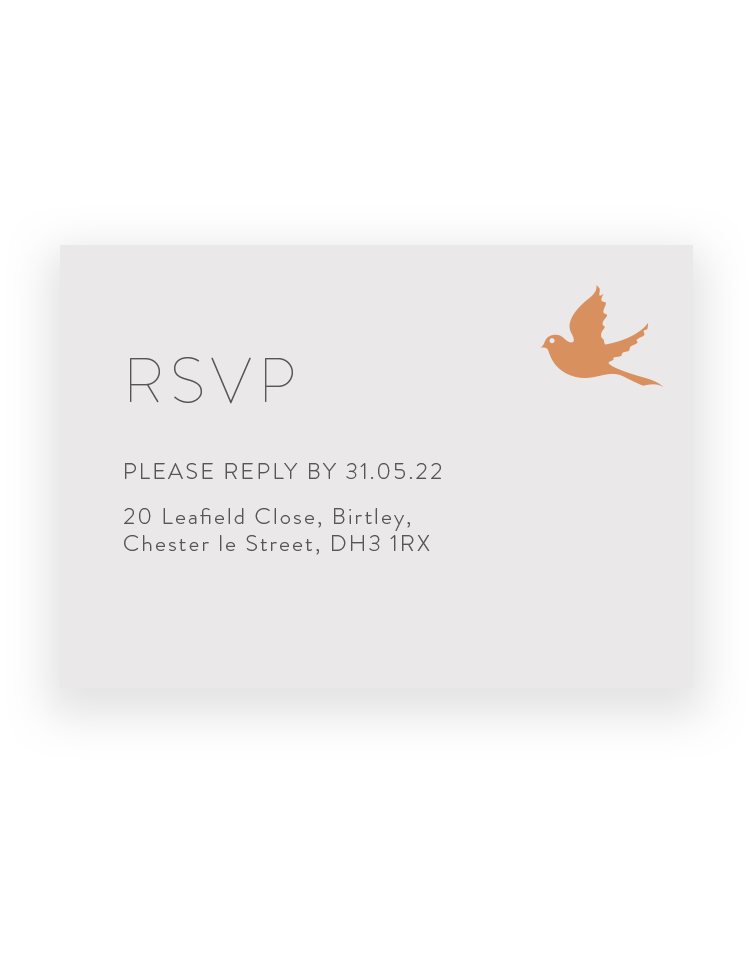 Love Birds Wedding RSVP Cards - Luxury Wedding Stationery by The Foil Invite Company