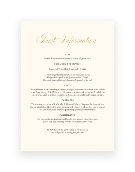 Stylish Pemberley Wedding Information Card - Hand Foil Printed in the UK - Luxury Wedding Stationery by The Foil Invite Company