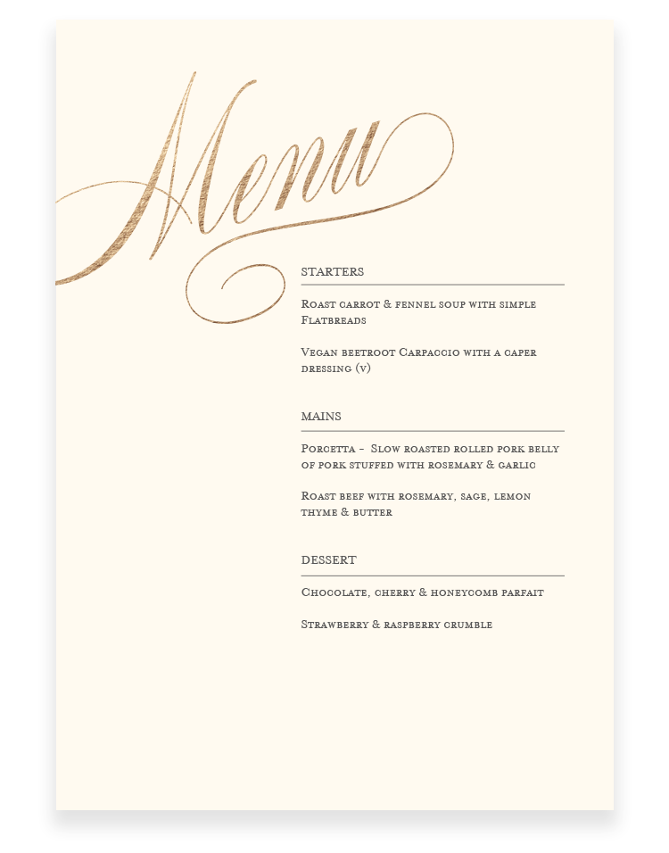 Wedding Menu Cards - Luxury Wedding Stationery by The Foil Invite Company