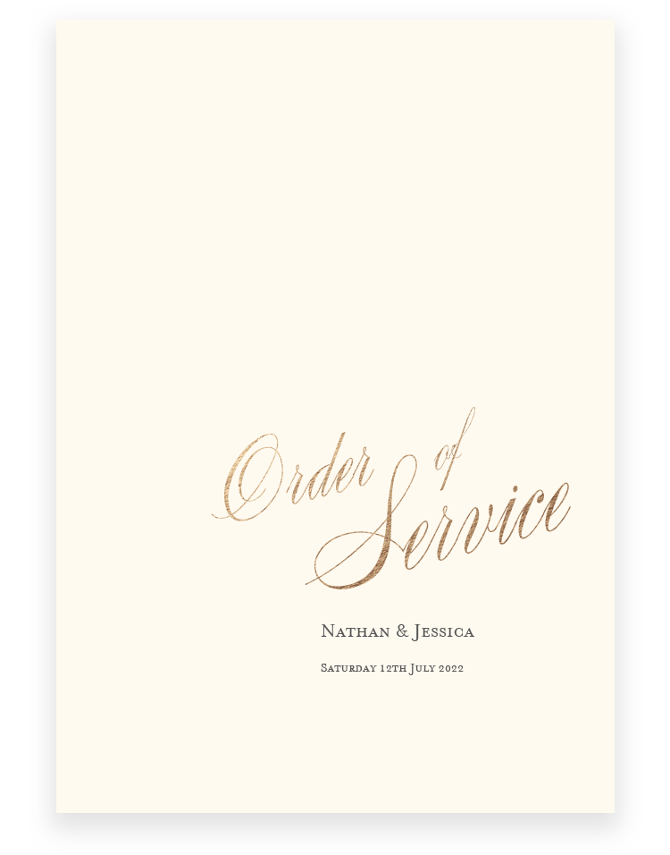 Elegant Wedding Order of Service - Pemberley - Luxury Wedding Stationery by The Foil Invite Company