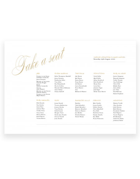 Stylish Wedding Table Plan - Pemberley - The Foil Invite Company Luxury Wedding Stationery