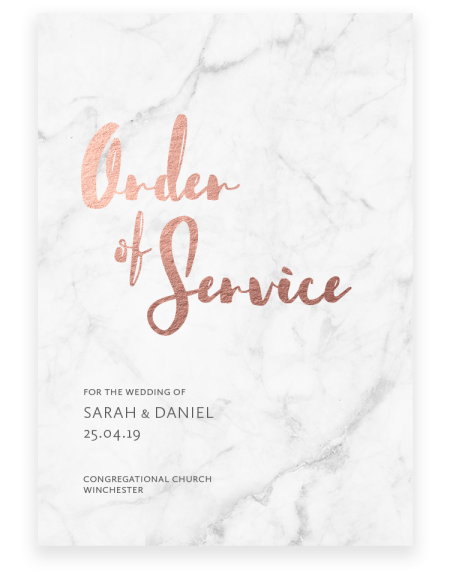 Rockwell Wedding Order of Service - Luxury Wedding Stationery by The Foil Invite Company