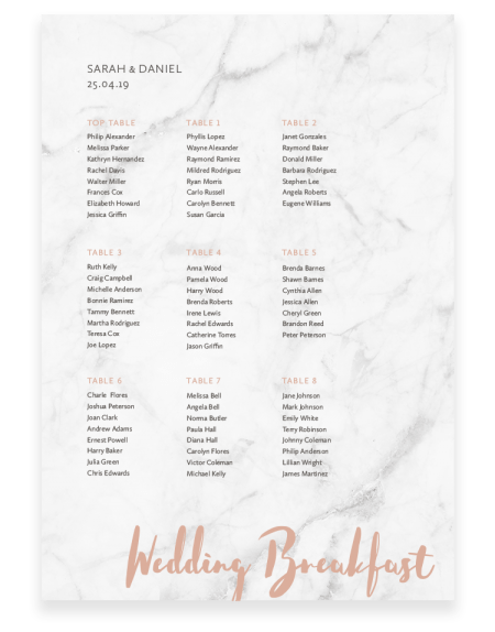 Stylish Wedding Table Plan - Rockwell - The Foil Invite Company Luxury Wedding Stationery