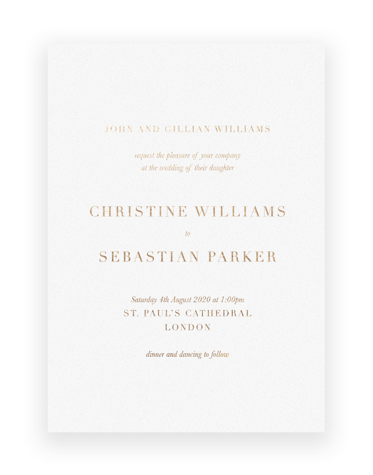 Simple but elegant wedding invitations - Sarto Serif - Foil Invite Company Luxury Wedding Stationer