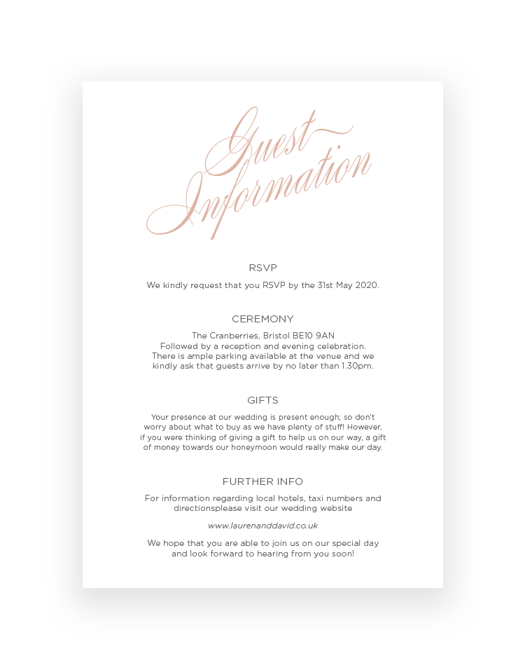 Stylish Script Wedding Invitation Card - Luxury Wedding Stationery by The Foil Invite Company