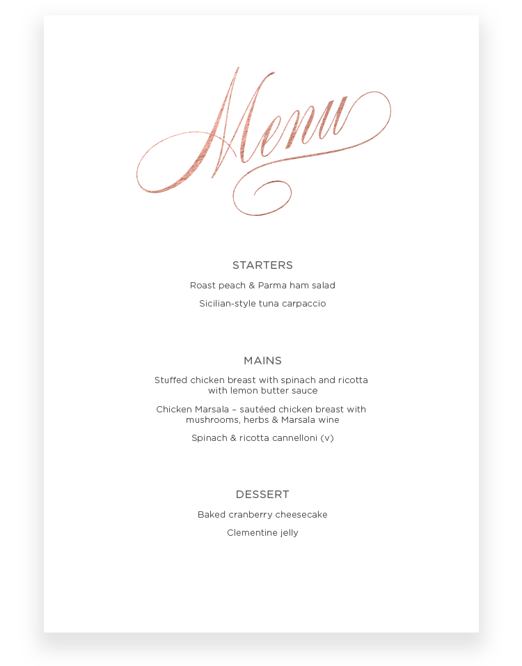 Script Wedding Menu Cards - Luxury Wedding Stationery by The Foil Invite Company