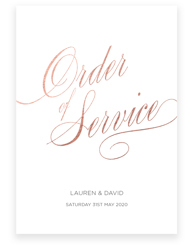 Script Wedding Order of Service - Luxury Wedding Stationery by The Foil Invite Company