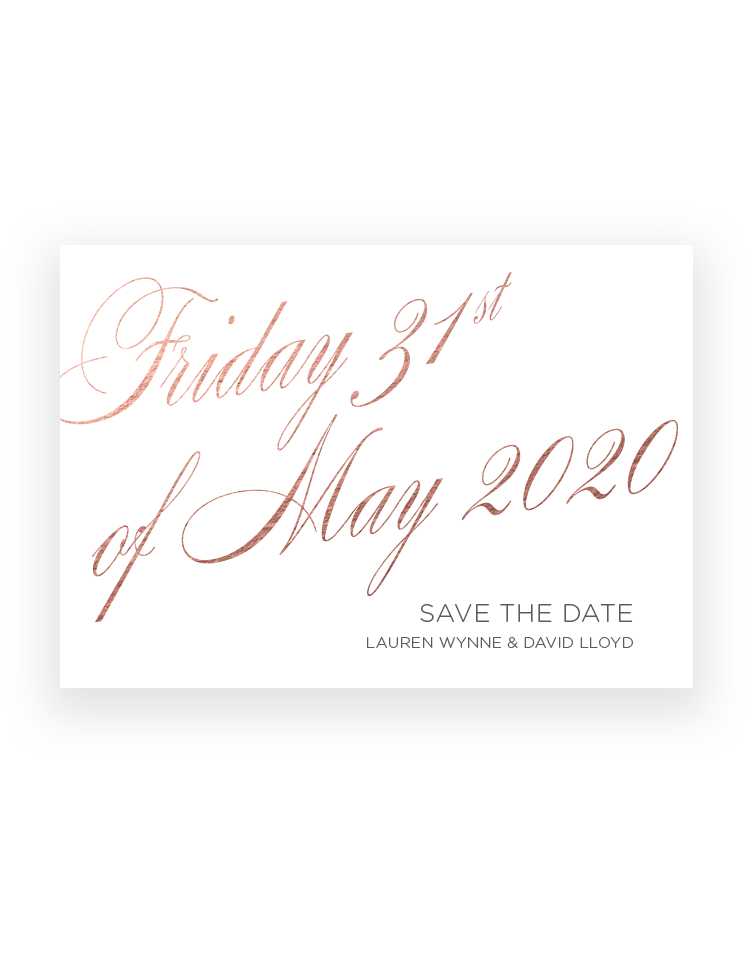 Elegant Save the Date Magnets and Cards - Foil Printed by hand in the UK - The Foil Invite Company Luxury Wedding Stationery
