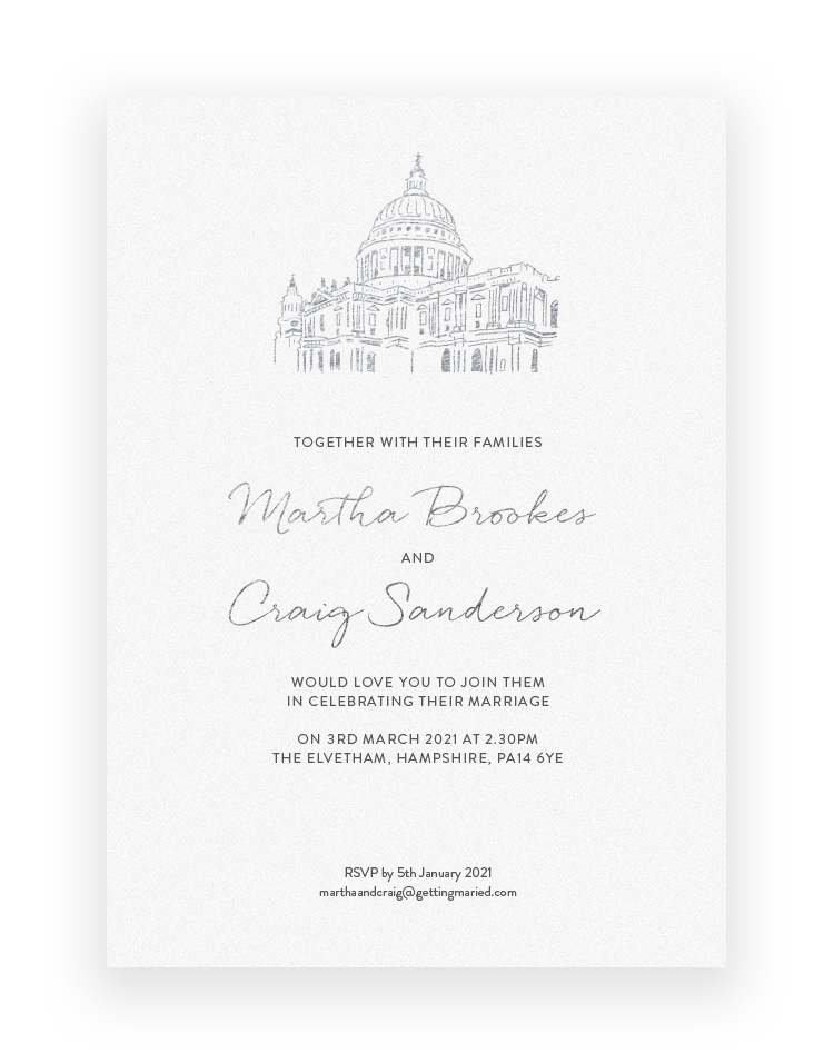 Sketched Venue Illustration Wedding Invitation - Luxury Wedding Stationery by The Foil Invite Company