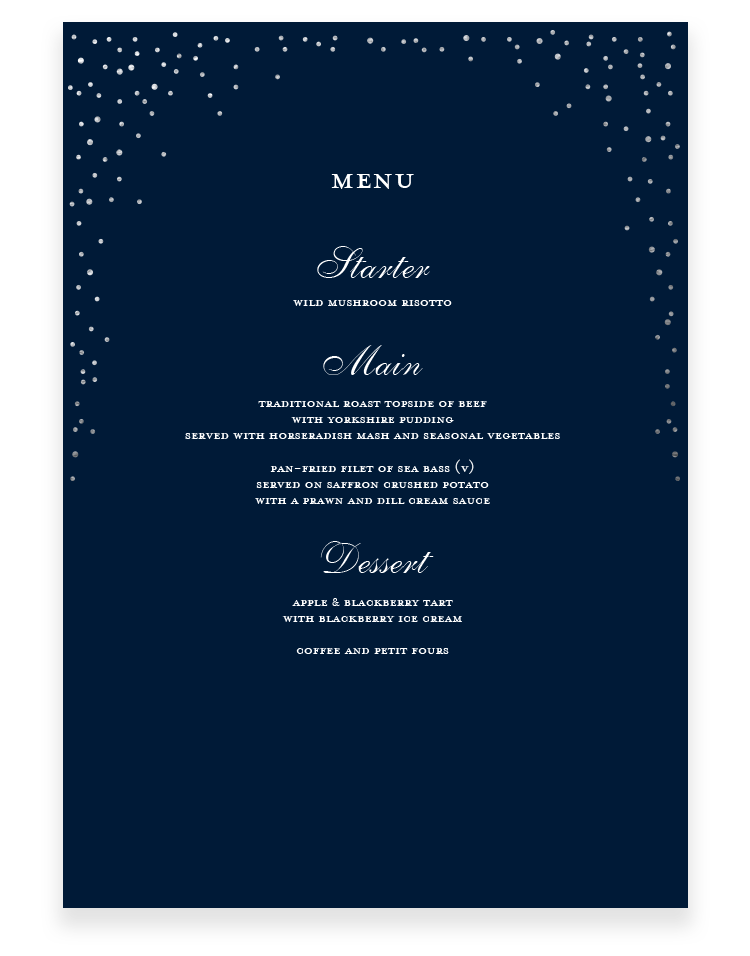 Sparkle Wedding Menu Cards - Luxury Wedding Stationery by The Foil Invite Company