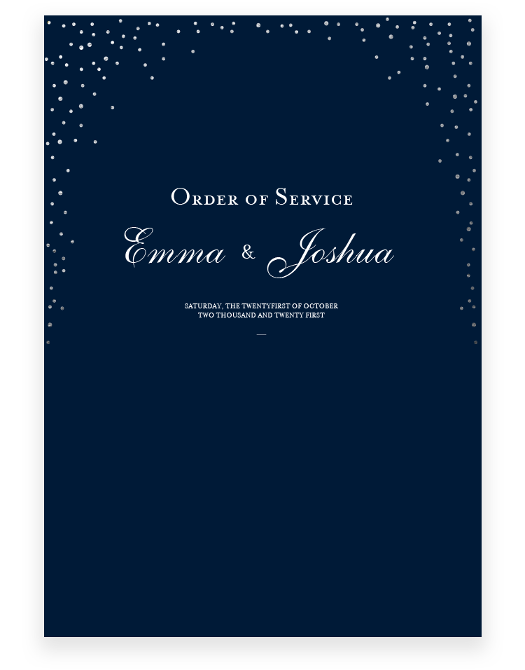 Sparkle Wedding Order of Service - Luxury Wedding Stationery by The Foil Invite Company