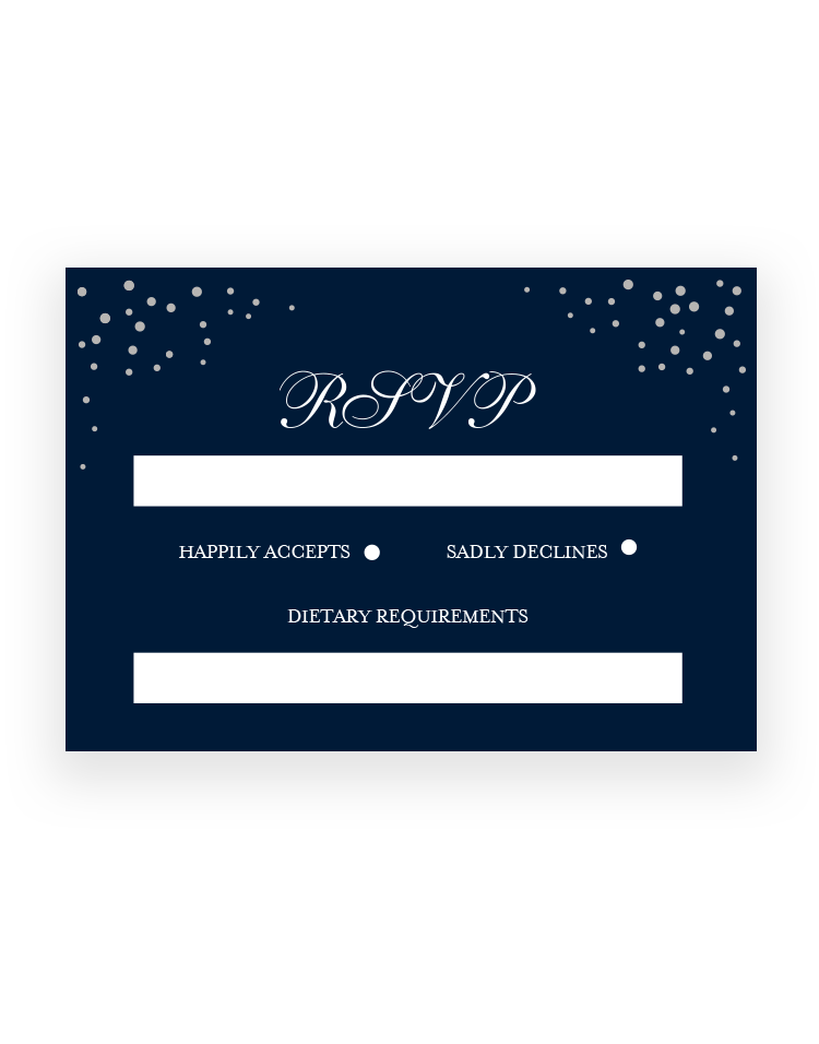 Stylish Sparkle RSVP Cards - Personalised Wedding RSVP Cards - Luxury Wedding Stationery by The Foil Invite Company