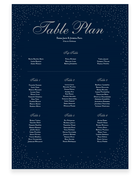 Traditional Wedding Table Plan - Sparkle - Foil Invite Company Luxury Wedding Stationery