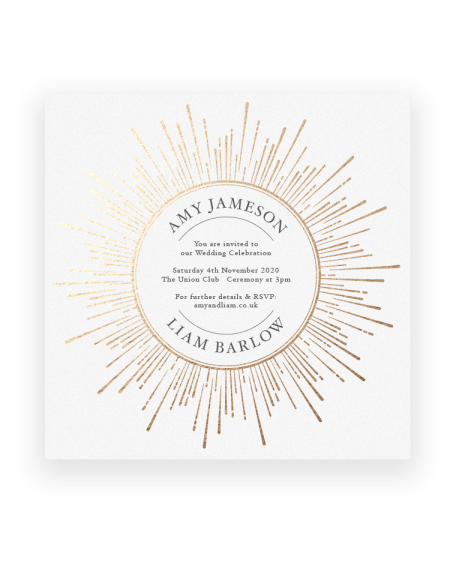 Sunburst Wedding Invitation - Luxury Wedding Stationery - Gold Foil on White - Foil Invite Company