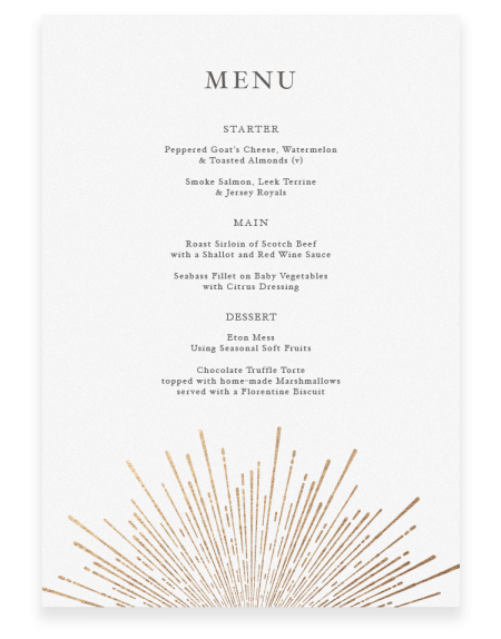 Sunburst Wedding Menu Cards - Luxury Wedding Stationery by The Foil Invite Company