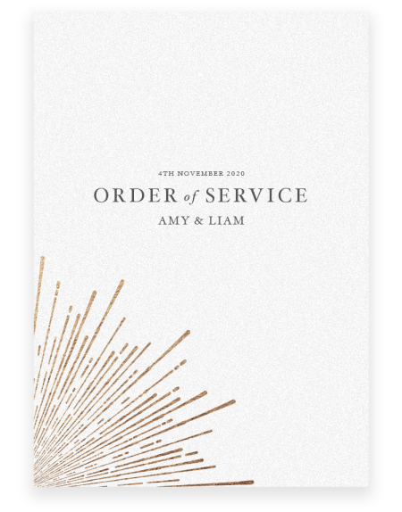 Sunburst Wedding Order of Service - Luxury Wedding Stationery by The Foil Invite Company