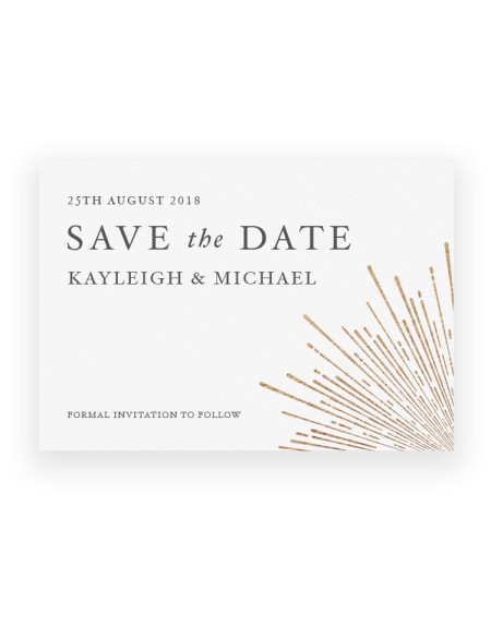 Retro style Save the Dates Cards and Magnets - Hot Foil Printed in the UK - The Foil Invite Company Luxury Wedding Stationery