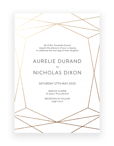 Terrarium Geometric Wedding Invitations - Luxury Wedding Stationery by The Foil Invite Company