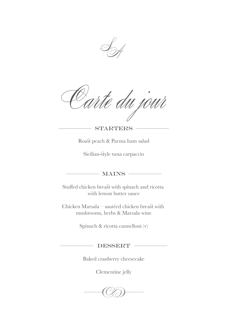 Wedding menu cards beaumont the foil invite company stopboris Image collections