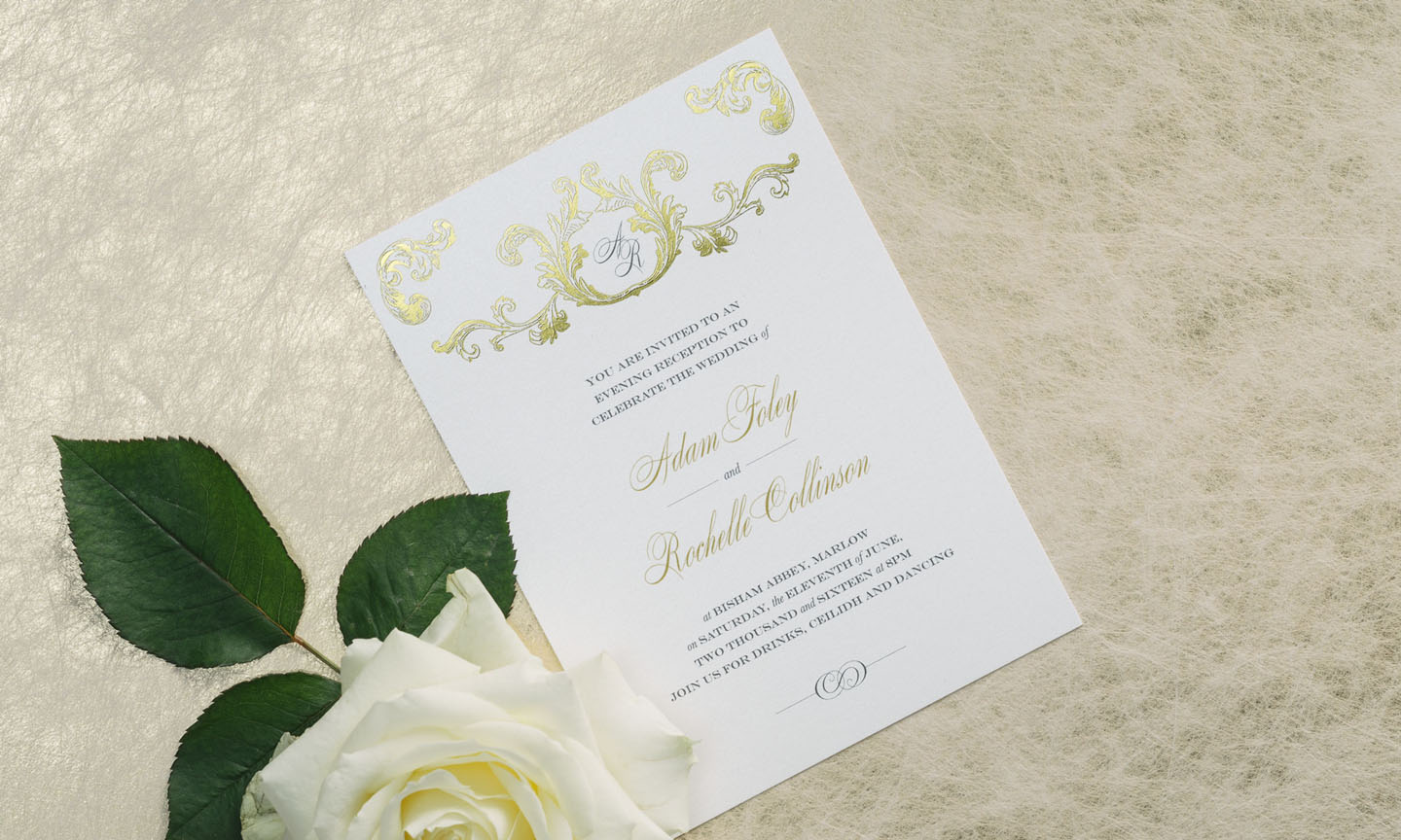 Summer Wedding Ideas - Luxury Wedding Invitations in Gold and White - Foil Invite Company Wedding Stationer