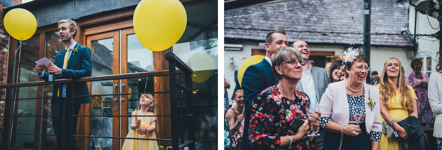 Summer Wedding Ideas - Relaxed Outdoor Speeches and Yellow Balloons - Foil Invite Company Blog - Luxury Wedding Stationer
