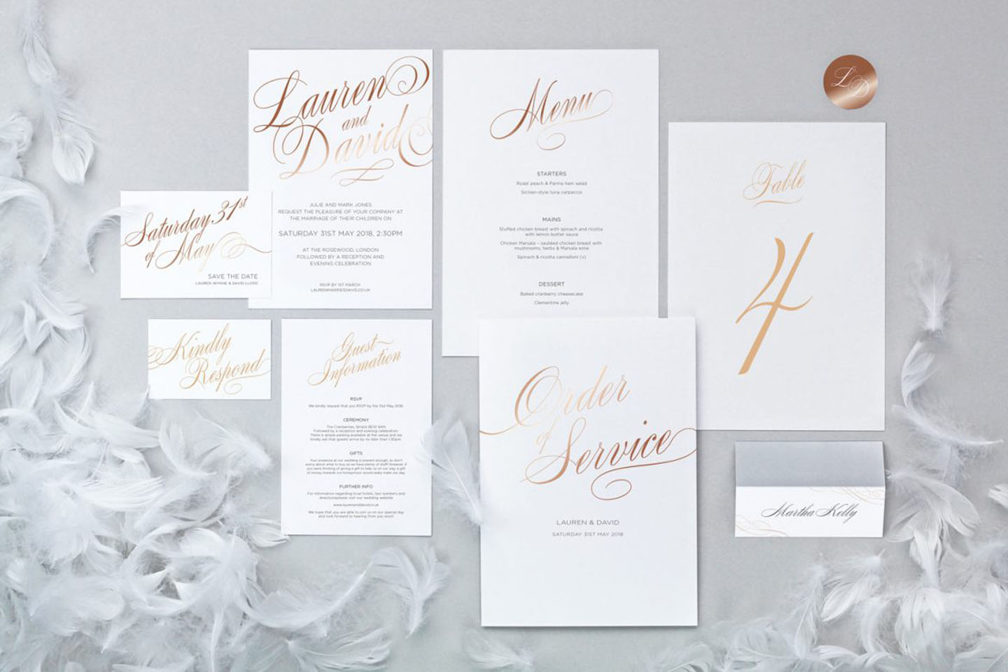 Script Wedding Stationery Collection - Elegant Wedding Stationery by The Foil Invite Company