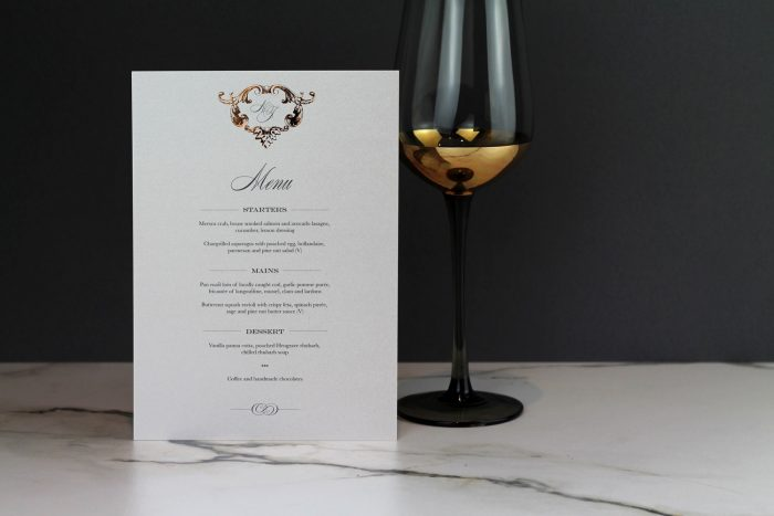 Beaumont Menu | Gold Foil Wedding Menus on Pearl Card | Wedding Menu Cards by the Foil Invite Company