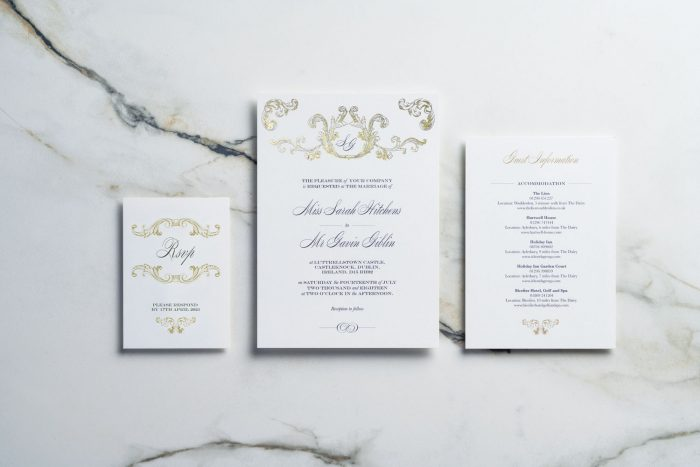 Gold Foil Wedding Stationery Set - Beaumont Collection | Gold Foil Wedding Invitations | White and Gold Wedding Invitations | Luxury Wedding Invitations by the Foil Invite Company