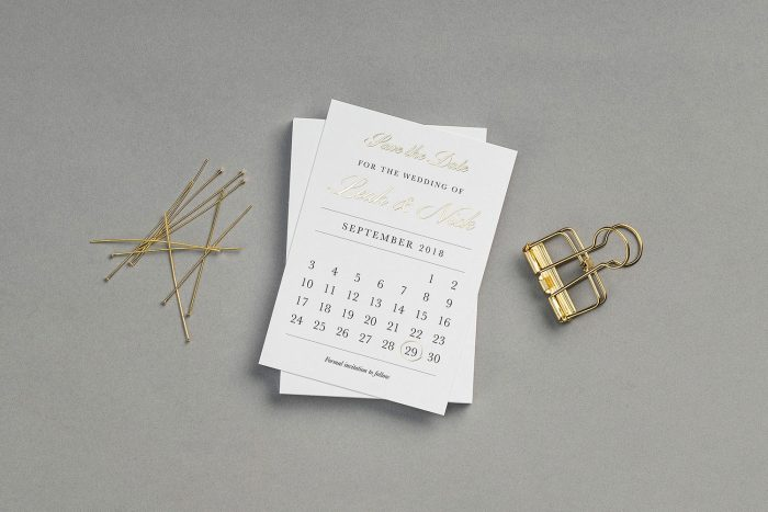 Calendar Save the Date Cards | Gold Foil Save the Dates on White Card | Save the Date Wedding Cards and Magnets by the Foil Invite Company