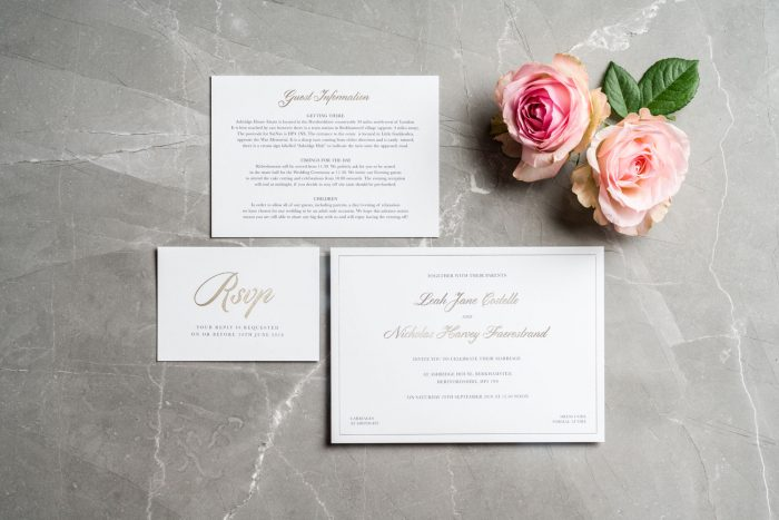 Classic Wedding Stationery Set | White and Gold Wedding Invitations | Luxury Wedding Invitations by the Foil Invite Company