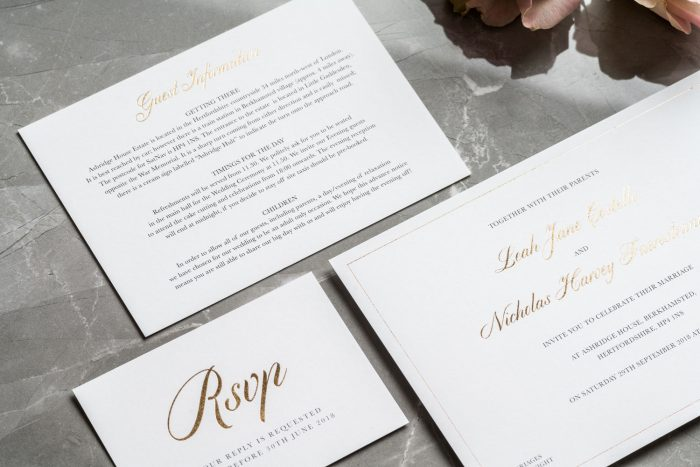 Classic Invitation, RSVP Card and Information Card