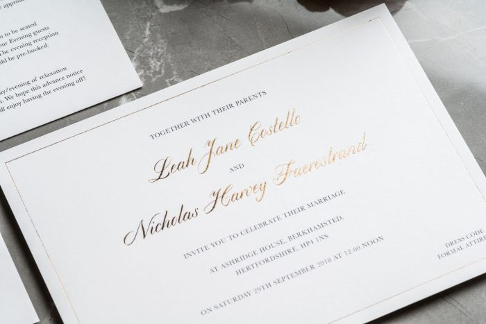 Classic Wedding Invitations | White and Gold Wedding Invitations | Foil Wedding Stationery | Luxury Wedding Invitations by the Foil Invite Company