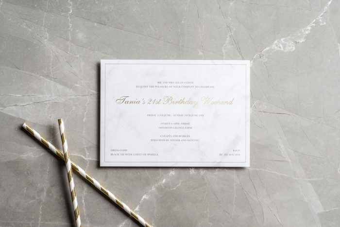 Personalised Party Invitations | Gold Foil on Marble Card | 21st Birthday Party Invitations | Bespoke Stationery by the Foil Invite Company