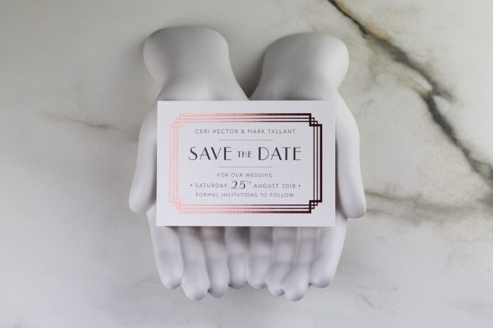 Deco Save the Date Cards | Rose Gold Foil Save the Dates on Grey Card | Art Deco Save the Dates | Save the Date Wedding Cards and Magnets by the Foil Invite Company