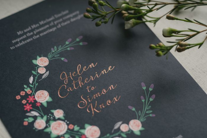 Farndon Wedding Invitations - Countryside Wedding Theme | Rose Gold Foil Wedding Stationery | Floral Wedding Invitations | Foil Wedding Invitations by the Foil Invite Company