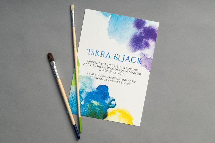 Bespoke Wedding Invitations - Watercolour with Blue Foil | Watercolour Wedding Invitations | Blue Foil Wedding Stationery | Bespoke Wedding Invitations by the Foil Invite Company