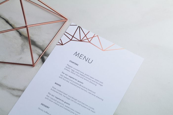 Geometric Menu | Rose Gold Foil Wedding Menu on White Card | Wedding Menu Cards by the Foil Invite Company